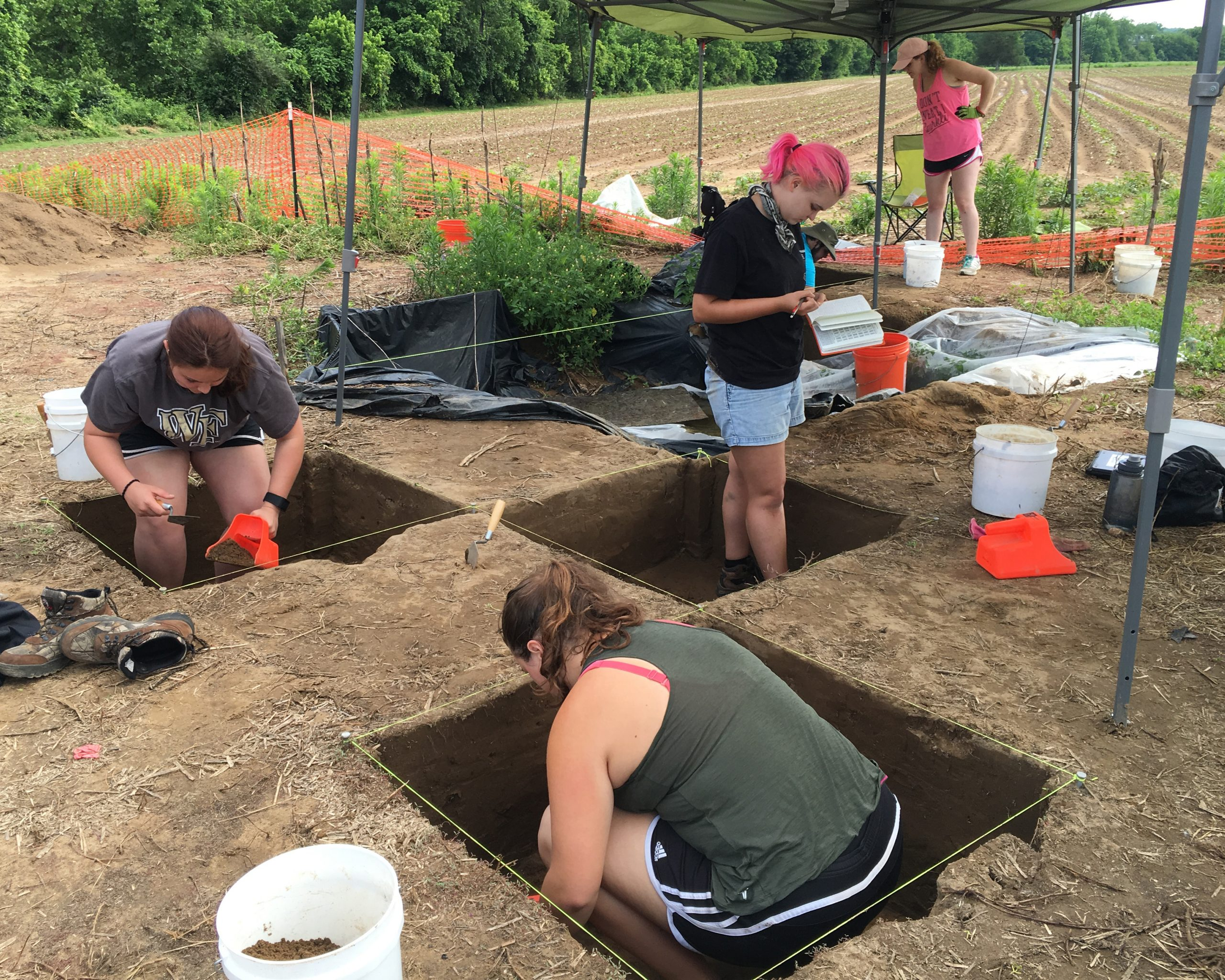 WFU students conduct an archaeological dig