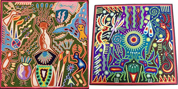 Huichol yarn paintings