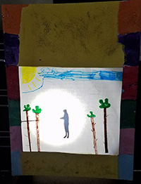 Homemade shadow puppet theater
