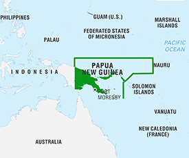 Papua New Guinea Map from Encyclopedia Britannica