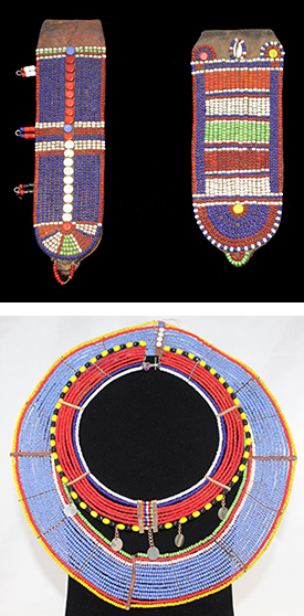Maasai beaded earflaps and necklace