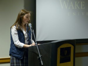 Student speaking at Words Awake