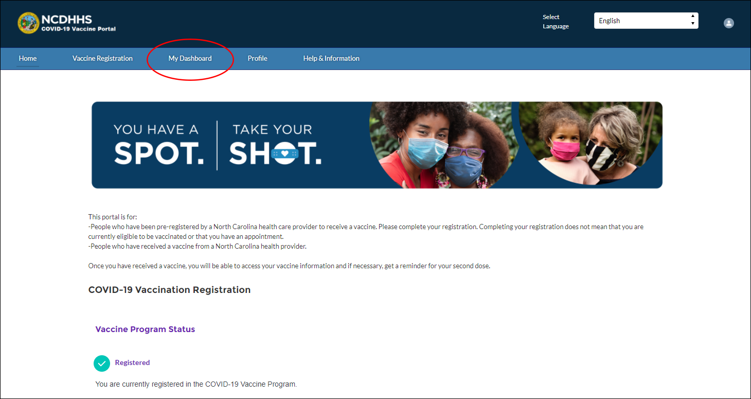 screenshot of NCDHHS website portal