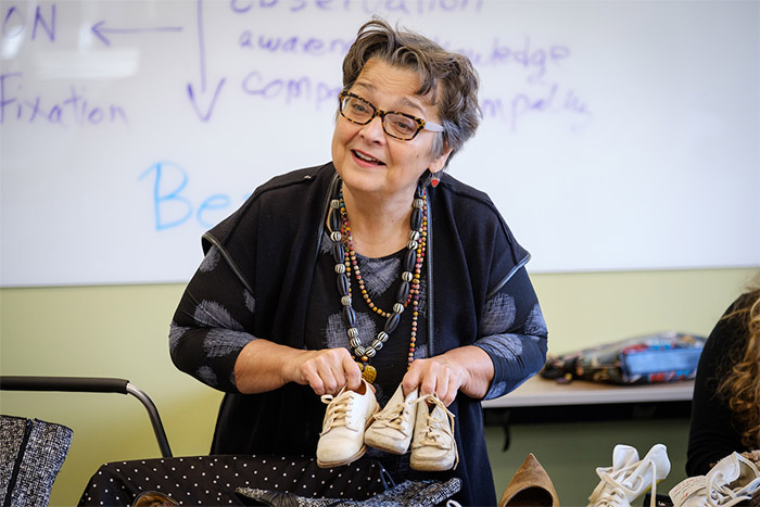 Wake Forest professor Jan Detter teachers her class in creativity and innovation at Wake Downtown