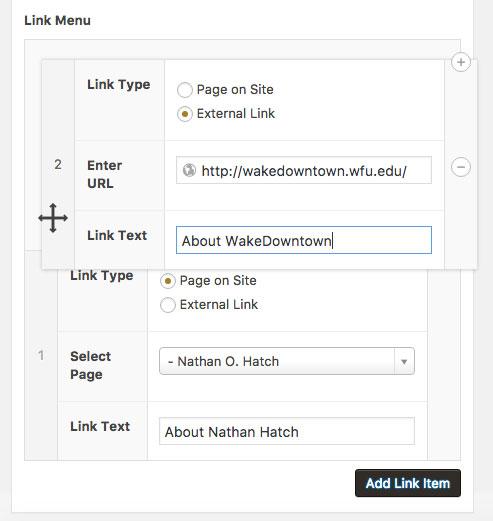 link menu move up