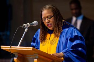 Professor Veronice Miles gives the prayer