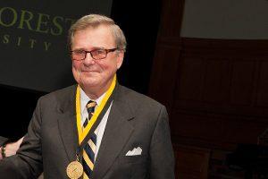 Wake Forest University presents its highest honor, the Medallion of Merit, to L. Glenn Orr Jr.