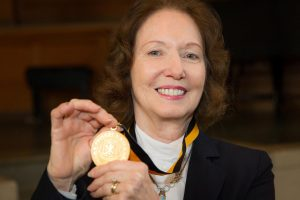 Wake Forest School of Law professor and former North Carolina Supreme Court Justice Rhoda Billings is awarded the Medallion of Merit