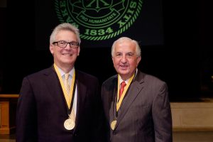 Medallion of Merit winners Dr. Louis Argenta (red tie) and Dr. Michael Morykwas