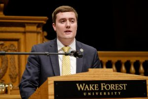 Photo of Kyle Tatich giving his Senior Oration.