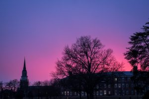 A glorious purple sky greeted Wake Foresters as they walked out of their offices at sunset.