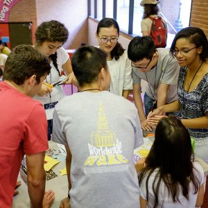 Photo of students playing a game.