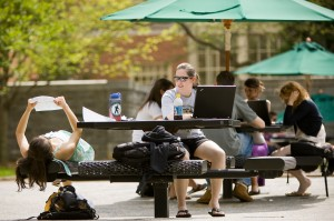 Students studying in Tribble Courtyard
