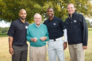 Wake Forest University hosts its annual Pro-Am golf tournament at the Old Town Club on Monday, October 17, 2011. Arnold Palmer poses for a photo with, from left, Randolph Childress, Chris Paul, and Ron Wellman.