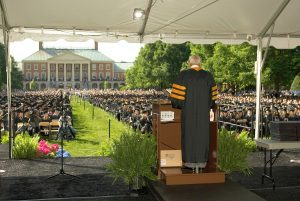 Wake Forest University Commencement Ceremonies, Monday, May 16, 2005. Noted golfer and former Wake Forest student Arnold Palmer gives the address.