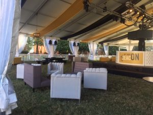 Seating area for the big tent for Party So Dear