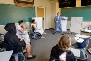 Wake Forest classics professor T.H.M. Gellar-Goad teaches his Latin Advanced Grammar and Prose Composition class, where the students often dress the part, in Tribble Hall on Wednesday, November 16, 2016.