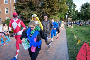 Members of the Wake Forest community run laps around Hearn Plaza in the annual Hit the Bricks for Brian endurance race on Thursday, October 6, 2016, raising money for the Brian Piccolo Cancer Fund. More than 1400 students, faculty, and staff competed during the eight hour race. Students are in costume for the Wacky Lap.