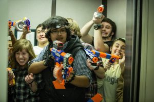 Wake Forest students play Humans versus Zombies in the Z. Smith Reynolds Library.