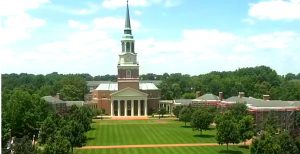 You can see the brown dead grass where the commencement tent had stood on the Quad