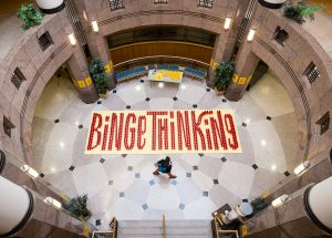 An art installation in the atrium of the Benson University Center draws attention to the Binge Thinking campaign on alcohol consumption