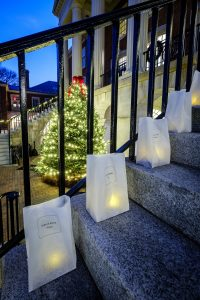 Luminaries cover the Wake Forest quad and the steps to Reynolda Hall on Monday, December 4, 2017.
