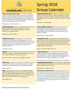 University Counseling Center group therapy offerings, spring 2018