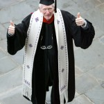 Ed Christman following his last Commencement as chaplain in 2003.