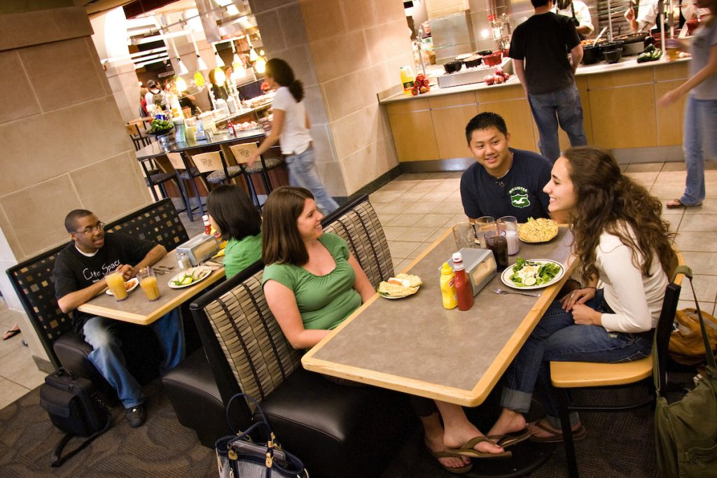 Wake Forest students enjoy lunch in the Reynolda Fresh Food Company (the Pit)