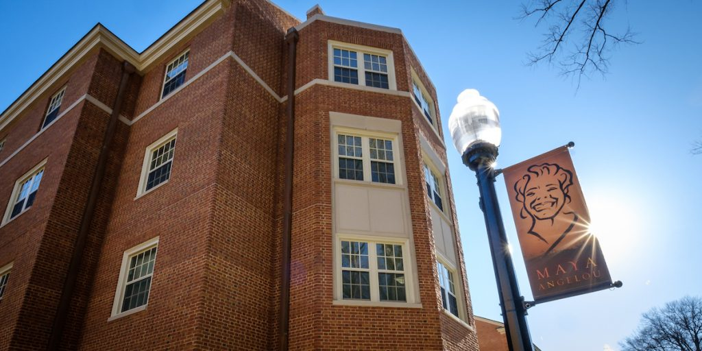 Exterior image of Angelou Residence Hall.
