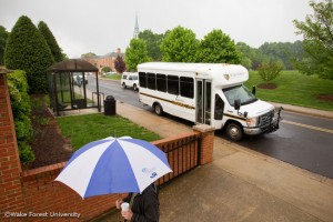 A Wake Forest shuttle bus makes its rounds on campus on Wednesday, April 21, 2010. The shuttles run around campus and to local apartment complexes.
