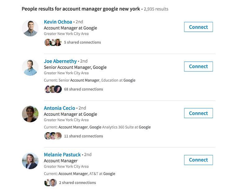 Screenshot of LinkedIn sample search results