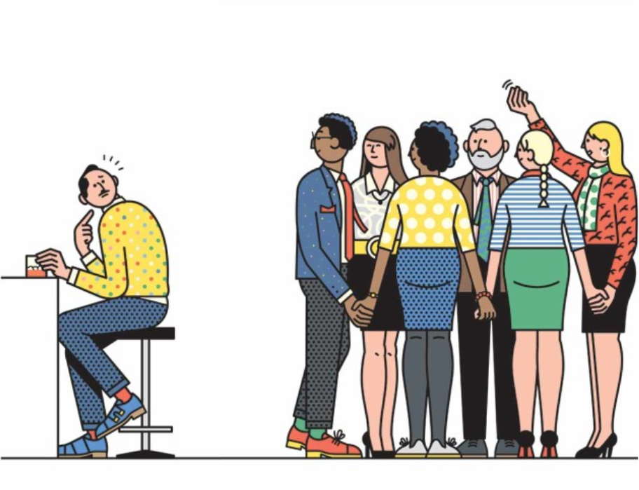 Caricature of people talking in group and beckoning over someone sitting by themselves