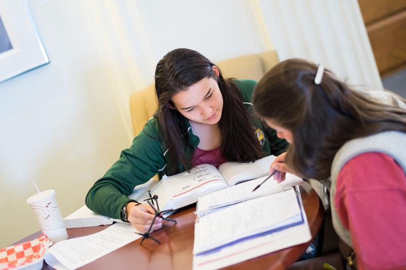 Students Study Organic Chemistry Using Model, Lindsay Soo ('16), Megan Kessler ('17)