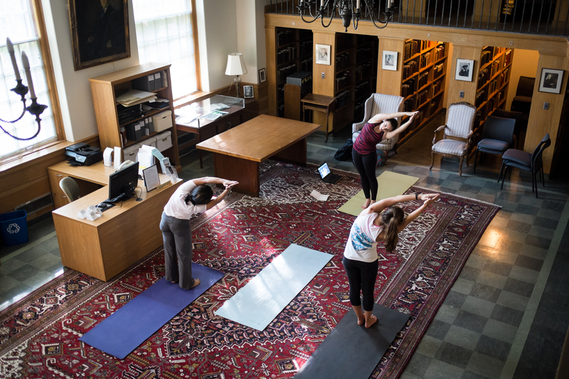 Wake Forest Fellow Lauren Suffoletto ('13), Leads Yoga Class, Rare Books Room in Z. Smith Reynolds Library, Wake the Library