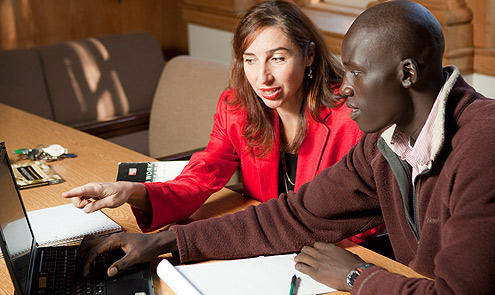 Sociology professor Ana Wahl and senior Leek Deng collaborated on a health-care project.