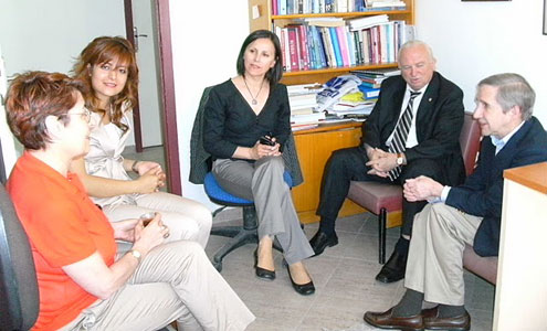 Sam Gladding (far right) meets with counseling faculty at a Turkish university.
