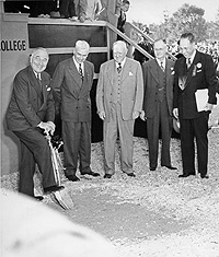 Harry Truman breaks ground on the new Wake Forest campus