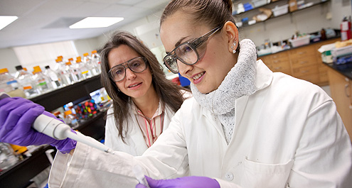 Professor Rebecca Alexander with Ph.D. student Veronica Casina: Still dealing with the same issue — why women are underrepresented in the sciences — from a century ago.
