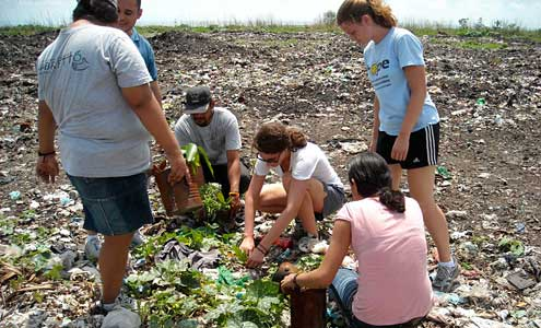 Students collect plants from La Chureca in Managua (the city dump) to be replanted as part of a beautification project at a local school.