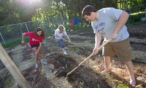 As part of their spring biology class, Emily Earle, Kris Frantz and Nick Conte work in the campus garden to learn about plant physiology, sustainability and community service.
