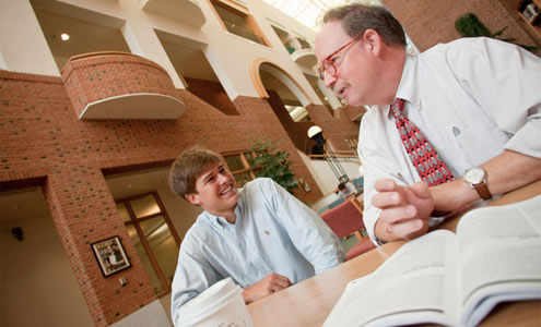 Tom Phillips ('74, MA '78), director of the Wake Forest Scholars program, helps students like Rhodes Scholarship national finalist Patrick Nelli ('09) find paths to success.