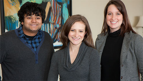 Seniors Zahir Rahman (from left) Kate Miners and Monica Giannone will give their senior orations at Founders' Day Convocation on Feb. 18.