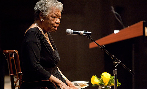 Dr. Maya Angelou used words, poetry and song to inspire a large crowd gathered in Wait Chapel to honor the legacy of Dr. Martin Luther King Jr.
