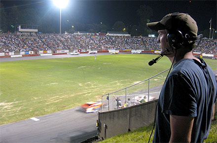 "Alumnus Grant Kahler at Bowman Gray Stadium, ""the central battleground where the main characters meet every week"" in his new reality television series."