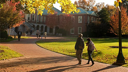 Wake Forest students walk across Hearn Plaza on Wednesday, October 28, 2009.