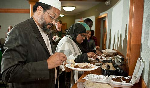 Students in Nelly van Doorn-Harder's religion class joined with local Muslims to learn about a traditional Muslim feast, the Feast of Sacrifice, during Thanksgiving week.