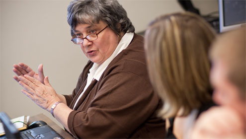 Professor of Education Leah McCoy teaches a class in the Master Teacher Fellows program; a new program for math and science teachers will begin next summer.