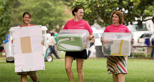 For a greener move-in, pack school supplies and clothes in re-usable storage containers, not boxes.
