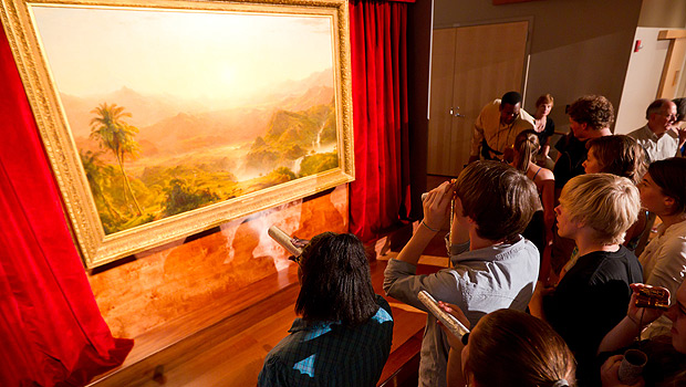 Students view Frederic Church's 1855 masterpiece, The Andes of Ecuador.